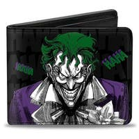 Joker Smiling + Laughing Poses Haha Black Gray Purple Green Bi Fold Wallet - One Size Fits most