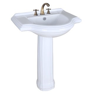 Bathroom Pedestal Sink White China 26in Wide Counter Widespread Faucet Holes