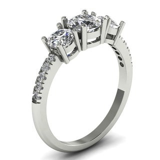 Link to 1.10 CT Classic Three-Stone Round Cut Diamond Engagement Ring in 14KT Similar Items in Wedding Rings
