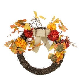 "20"" Autumn Harvest Artificial Mixed Fall Leaf and Mum Flower Thanksgiving Twig Wreath - Unlit"