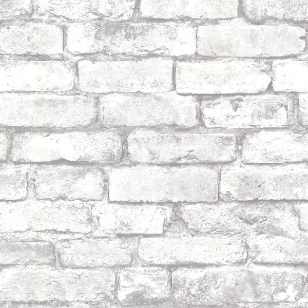 Brewster 2604-21261 Brickwork Light Grey Exposed Brick Texture Wallpaper - Light Grey Brick