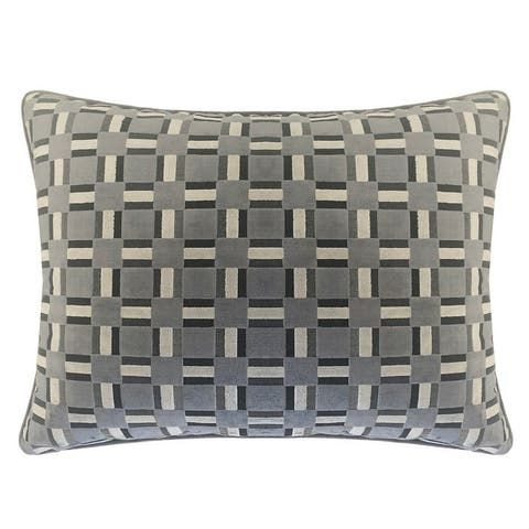 Rodeo Home Zeppelin Geometric Plaid Cut Velvet Throw Pillow