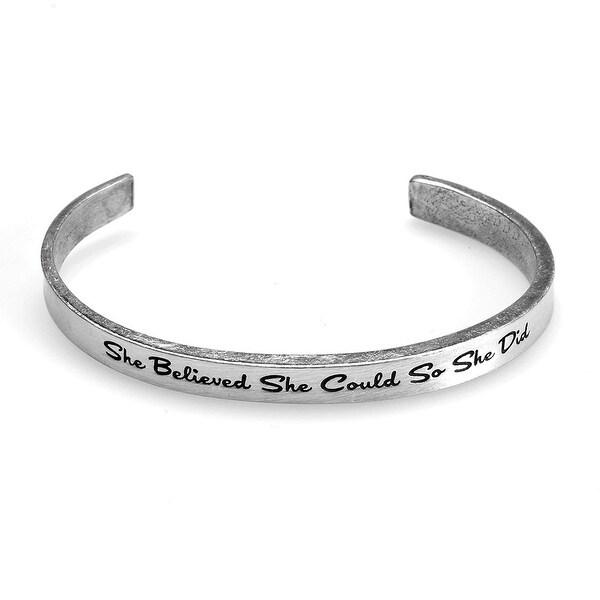 Women's Note To Self Inspirational Lead-Free Pewter Cuff Bracelet - She Believed