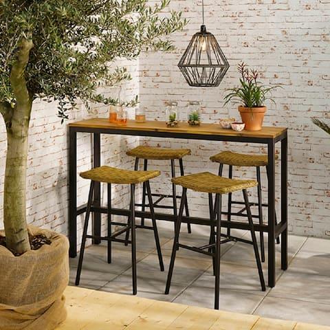 Hanoi Outdoor Acacia Wood Top Bar Set
