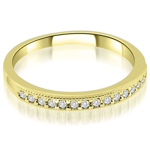 0.25 cttw. 14K Yellow Gold Classic Milgrain Round Cut Diamond Wedding Band