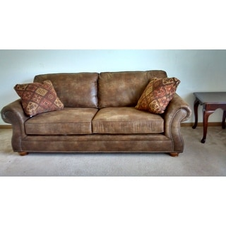 Broyhill Laramie Brown Suede Sofa Free Shipping Today