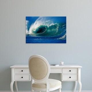 Easy Art Prints Panoramic Images's 'Waves splashing in the sea' Premium Canvas Art