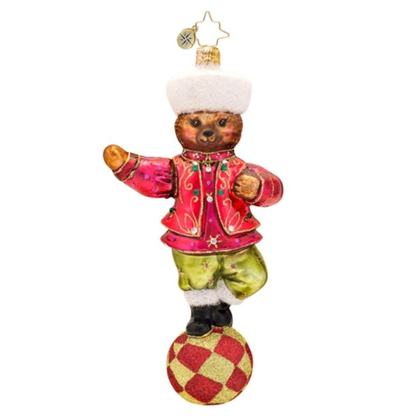 Christopher Radko Glass Czar of the Ring Teddy Bear Christmas Ornament #1017400 - RED