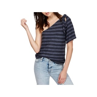 Lucky Brand Womens Adorn Pullover Top Striped One Shoulder