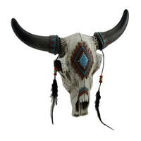 Beads & Feathers Southwest Style Decorated Steer Skull Wall Hanging