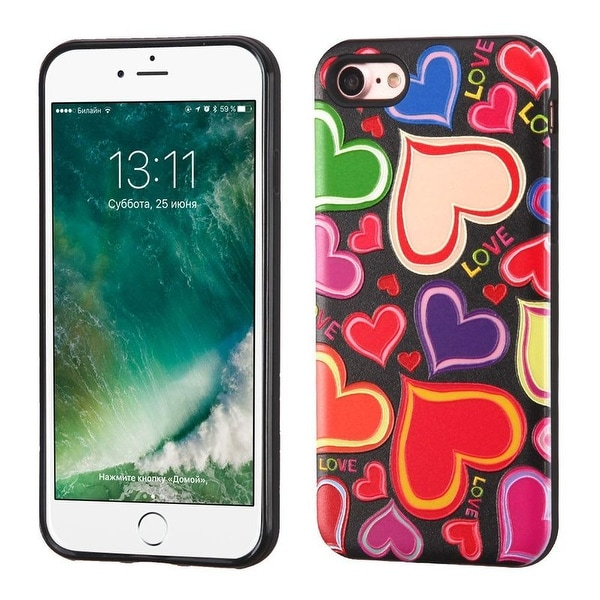 Insten Red/ Black Hearts Hard Snap-on Dual Layer Hybrid Case Cover For Apple iPhone 7