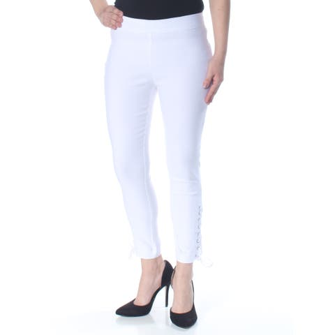 XOXO Womens White Darted Laced Up Ankle Skinny Pants Size: 6