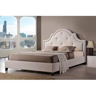 Colchester Light Beige Linen Platform Bed w/Scalloped Headboard (King)