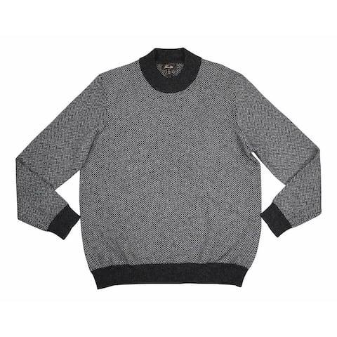 Tasso Elba Mens Sweater Black Size Small S Mock-Neck Printed Cashmere