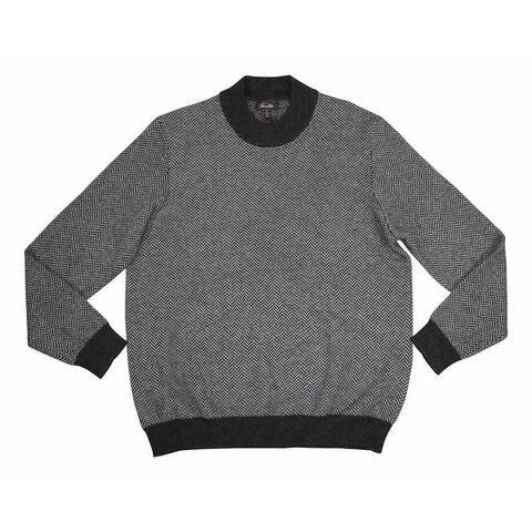 Tasso Elba Mens Sweater Black Small S Herringbone Turtleneck Cashmere