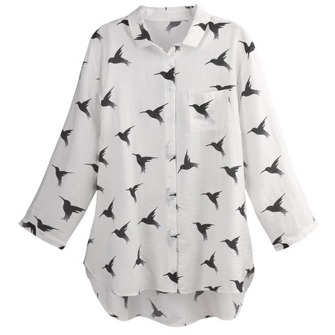 Helens Heart Women's Hummingbirds Button Front Shirt - Tunic Length Blouse