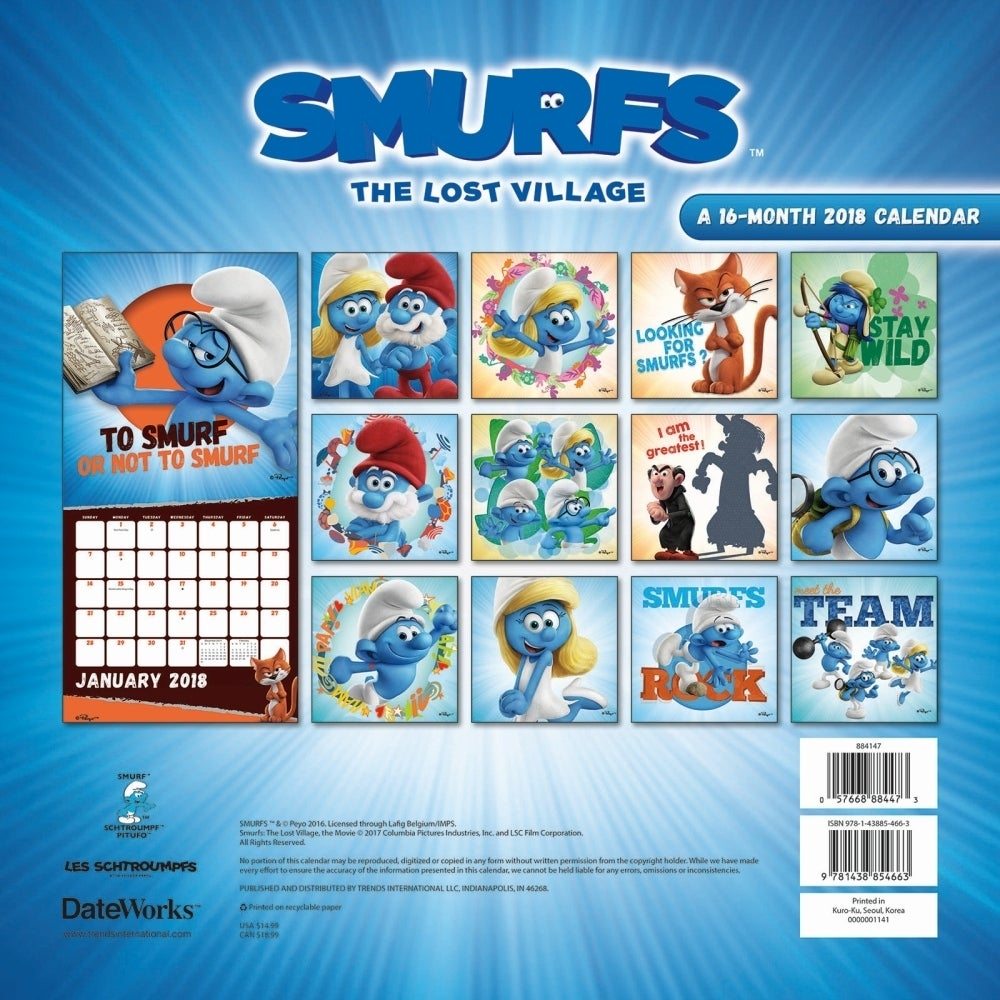 Shop The Smurfs Wall Calendar Weird Interesting By Trends International Overstock 18134446