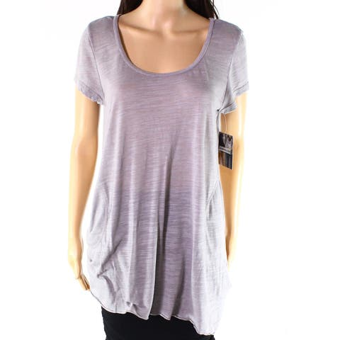 Allen Allen Gray Womens Size Large L Scoop-Neck Solid Knit Top
