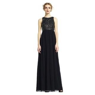 Adrianna Papell Sleeveless Dress with Geometric Beaded Bodice, Black, 14W