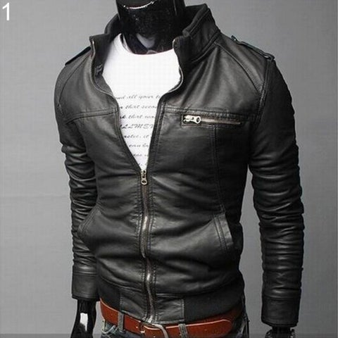 Men Casual Faux Leather Jacket Fashion Full Sleeve Stand Collar Outerwear Coat