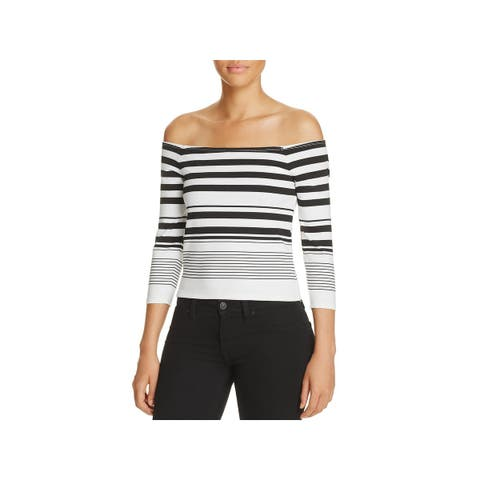 Cupcakes and Cashmere Womens Lelani Crop Top Striped Off-The-Shoulder