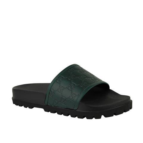 b41fe73b7f6e Gucci Guccissima Pattern Green   Black Leather Sandals 431070 3020