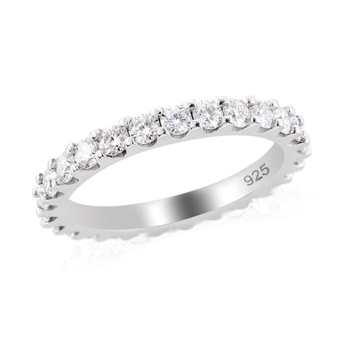 925 Silver Rhodium Over Moissanite Eternity Band Ring Size 7 Ct 1.5