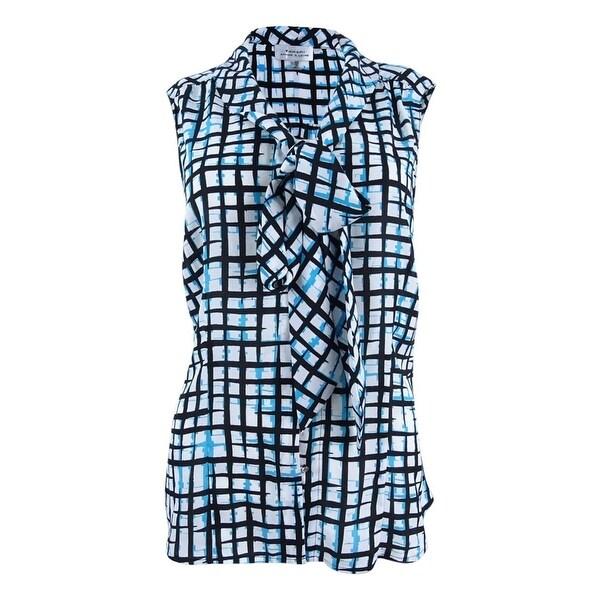 5ad6a4f70dc Shop Tahari Women s Plus Abstract-Print Tie-Neck Blouse (1X