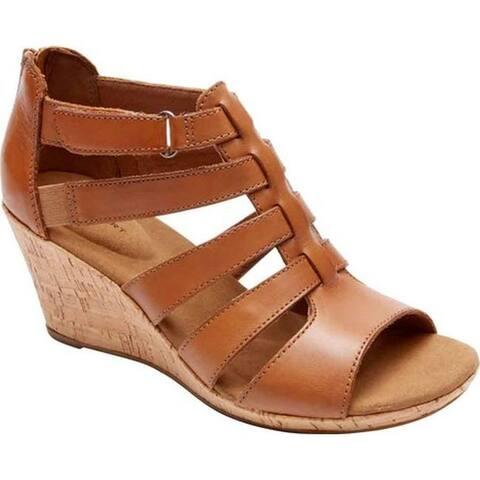 Rockport Women's Briah Gladiator Sandal Dark Tan Leather