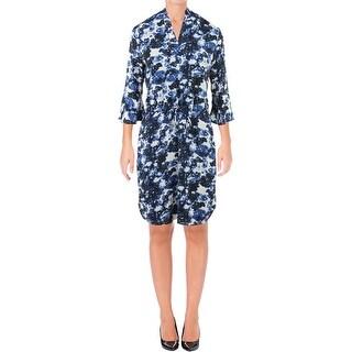Lauren Ralph Lauren Womens Plus Elvarsha Wear to Work Dress Flutter Sleeve