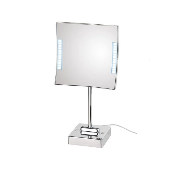 WS Bath Collections Quadrolo LED 62-1 3x Magnifying Rectangular Makeup Mirror w/ LED Lights from the Mirror Pure III Collection
