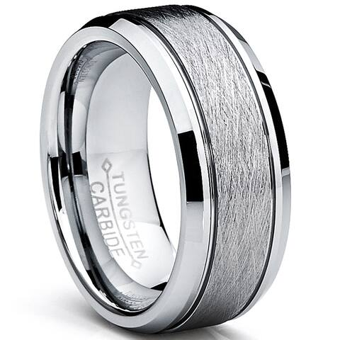 Oliveti Tungsten Carbide Men's Brushed Center Ring Wedding Band (8 mm)