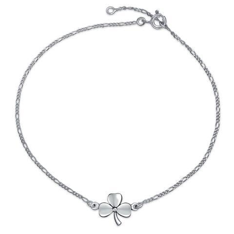 3 Leaf Clover Shamrock Flower Shape Anklet Lucky Charm Anklet Link Ankle Bracelet Sterling Silver 9 to 10 In Extender
