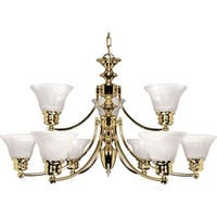 "Nuvo Lighting 60/361 Empire 9 Light 32"" Wide Chandelier - Polished brass"