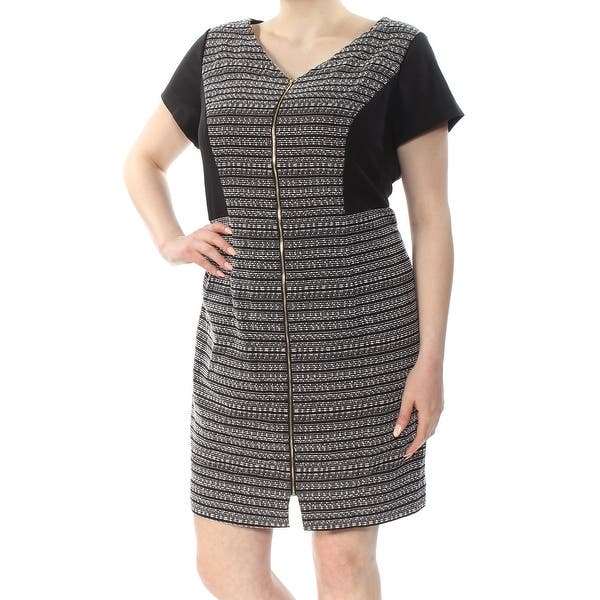ELLEN TRACY Womens Black Zip Front Short Sleeve V Neck Above The Knee Shift  Dress Plus Size: 16W