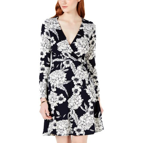 One Clothing Womens Juniors Casual Dress Floral Faux-Wrap