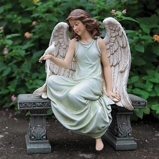 """15.75"""" Joseph's Studio Angel with Dove Sitting on a Bench Garden Statue - Green"""