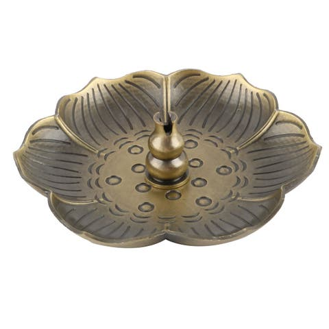 Living Room Office Metal Censer Plate Insence Stick Holder Container Bronze Tone