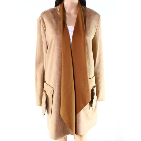 Radzoli Brown Women's Size 1X Plus Faux-Suede Draped Jacket