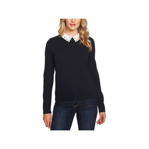 CeCe Womens Pullover Sweater Embellished Collar