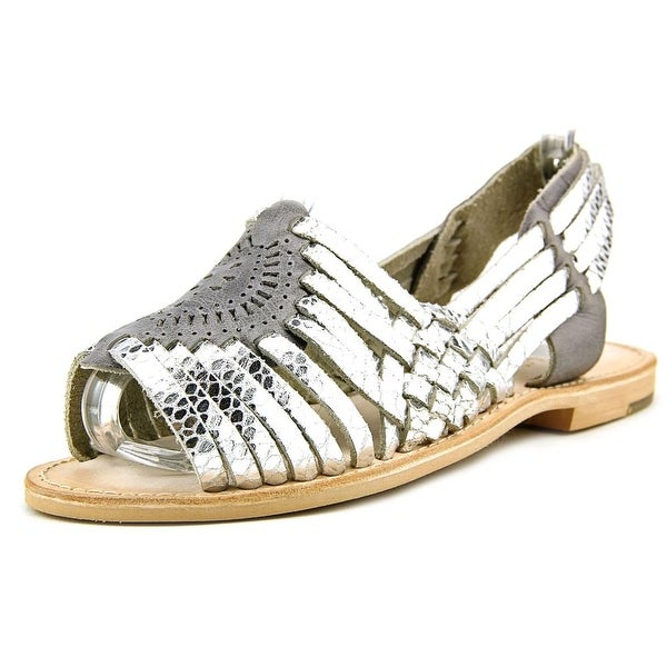Seychelles Sqaure Metallic Women Open Toe Leather Slides Sandal