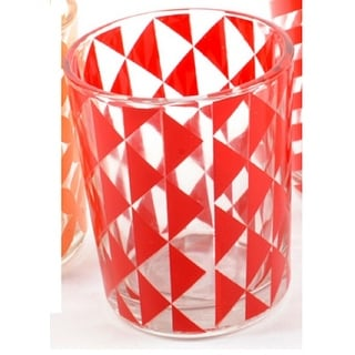 Basic Luxury Strawberry Margarita Red Triangles Glass Tea Light Candle Holder