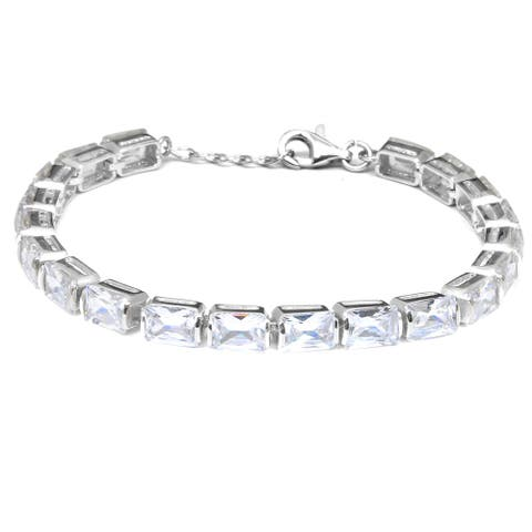 White Cubic Zirconia Sterling Silver Octagon Beaded Bracelet by Orchid Jewelry
