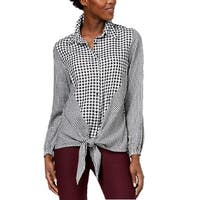 NY Collection Black Women's Size Medium M Gingham Tie Front Blouse