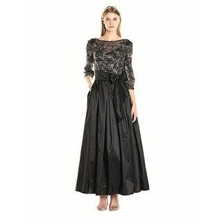 Alex Evenings Women's Plus Size Line Ballgown Evening Dress, Black/Gold, 8