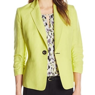 Kasper NEW Green Women's Size 12 Ruched Sleeve Toggle Button Jacket