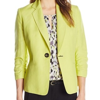 Kasper NEW Green Women's Size 12 Toggle Notch-Collar Ruched Blazer