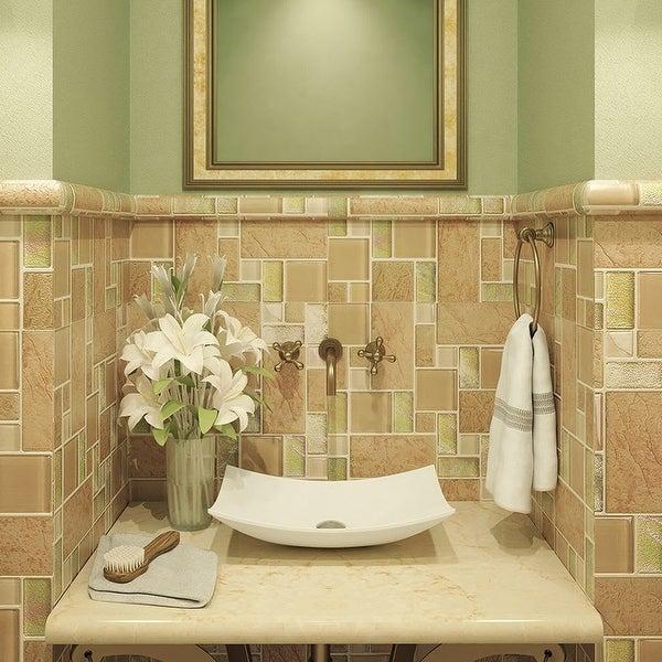"DecoLav 1443 Iris 23-5/8"" Rectangular Vitreous China Vessel Bathroom Sink - White"
