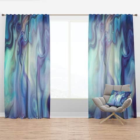 Designart 'Marbled Colours in Shades of Turquoise and Purple' Modern & Contemporary Curtain Panel