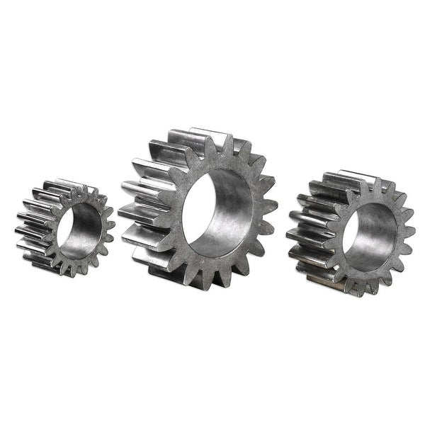 "Set of 3 Silver Gears Sculpture 9"" - N/A"